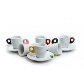 Giacinto šálky na kávu s farebným uškom 65 ml 6 ks