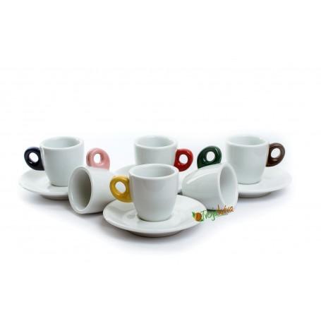 Giacinto šálky na kávu s farebným uškom 60 ml 6 ks