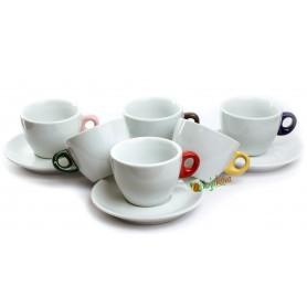 Giacinto šálky na cappuccino s farebným uškom 200 ml 6ks