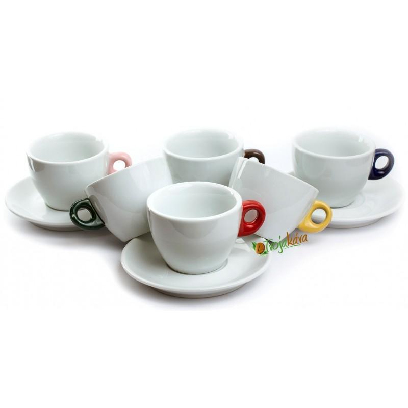 Šálky na kávu s farebným uškom set