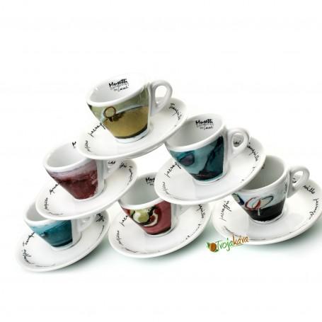 Musetti  šálky Pesaggio espresso farebné 6 ks