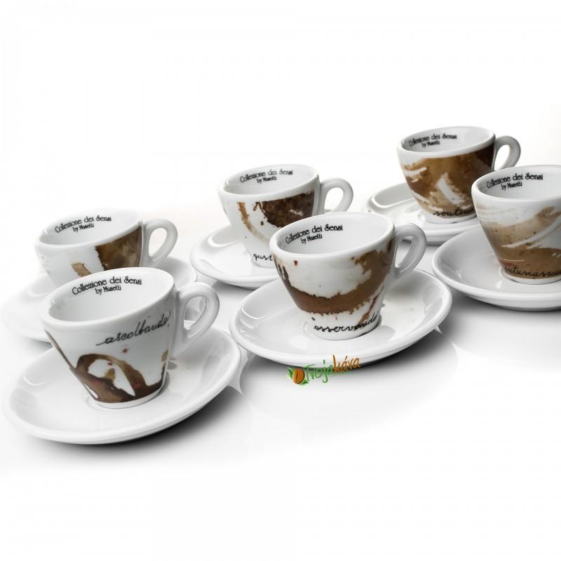 Musetti  šálky Paesaggio cappuccino hnedé 6 ks